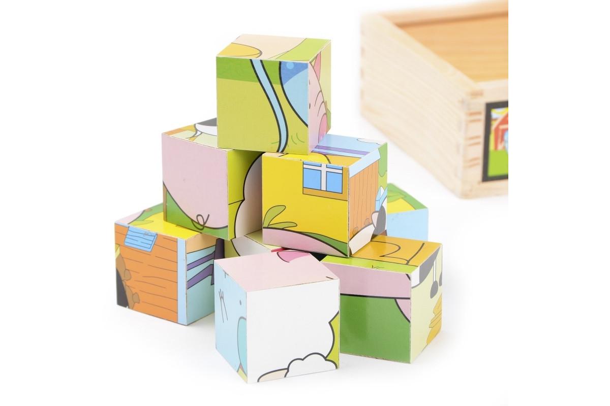 Развивающая игрушка деревянные кубики в пенале IE139